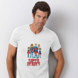 T-shirt V-hals bedrukken: Achterkant