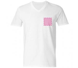 T-shirt V-hals bedrukken: Voorkant op de borst